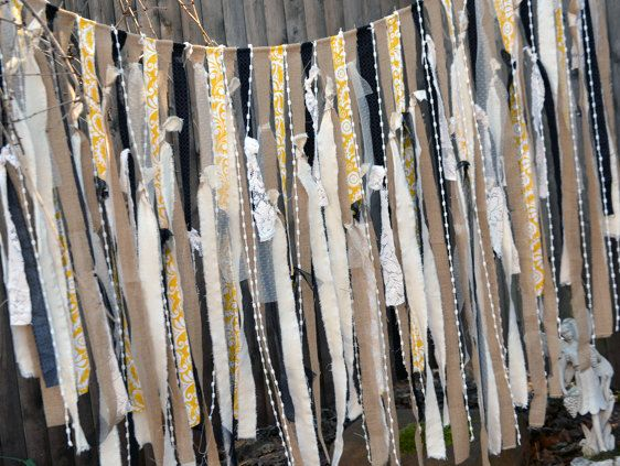Fabric Garland Extra Long, Layers upon Layers with Burlap,Tulle Vintage Lace,  Approx. 6 ft., Photo Backdrop, Party Decor, Wedding Decor. $70.00, via Etsy.