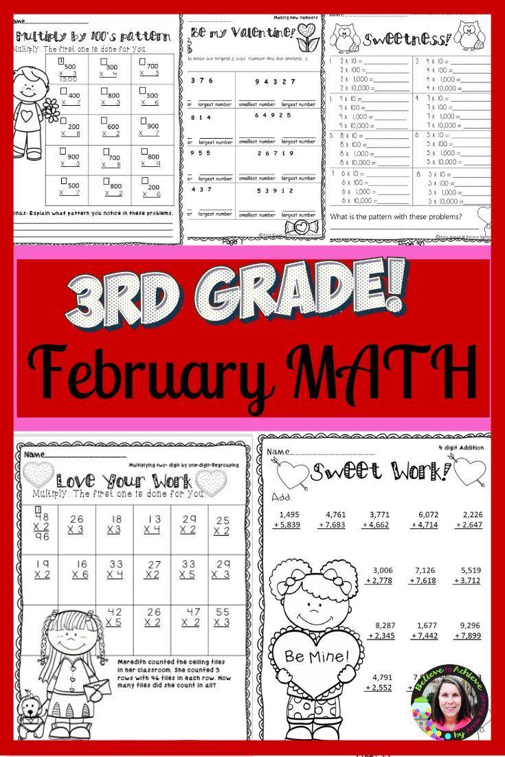 3rd Grade Math For February Worksheets Digital And Printable 3rd Grade Math Math Work Math