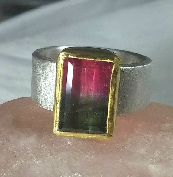 Watermelon Tourmaline Ring Solitaire Ring silver and by Marajoyce