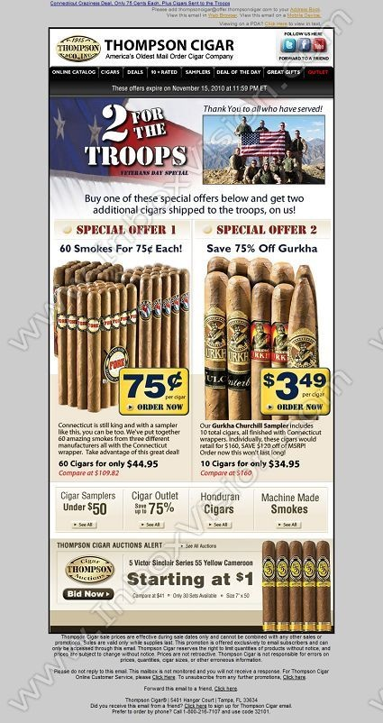 Company: Thompson Cigar   Subject: Get a Veteran's Day Deal andSend Cigars to the Troops         INBOXVISION, a global email gallery/database of 1.5 million B2C and B2B promotional email/newsletter templates, provides email design ideas and email marketing intelligence. www.inboxvision.c... #EmailMarketing  #DigitalMarketing  #EmailDesign  #EmailTemplate  #InboxVision  #SocialMedia  #EmailNewsletters