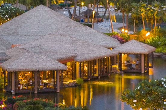 Tidepools Restaurant is located in The Grand Hyatt Kauai. Children's menu is available, serves dinner only and reservations are recommended.