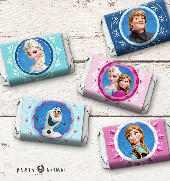 Instant Download Disney Frozen Mini Candy Bar Label - featuring Elsa, Anna, Olaf and Kristoff from Frozen! The PDF file includes 10 labels per