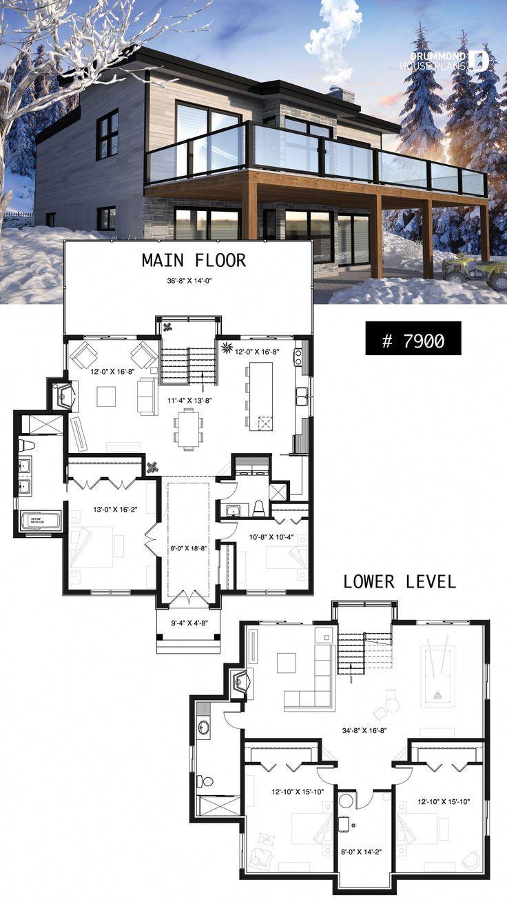 Modern Walkout Floor Plan Basement House Plans Lake House Plans Basement House