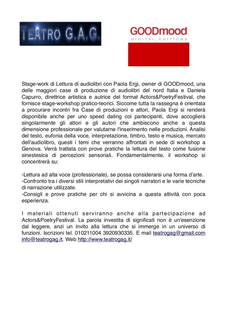 Stage work lettura di audiolibri con Paola Ergi, owner GOODmood by Teatro GAG via slideshare