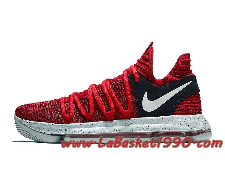 Nike KD 10 University 897816-600 Chaussures Nike Basket Pas Cher Pour Homme Rouge Noir