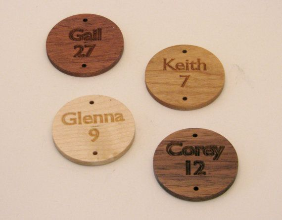 Carved Wood Name & Date Disks for Family by RCOriginalsGallery,