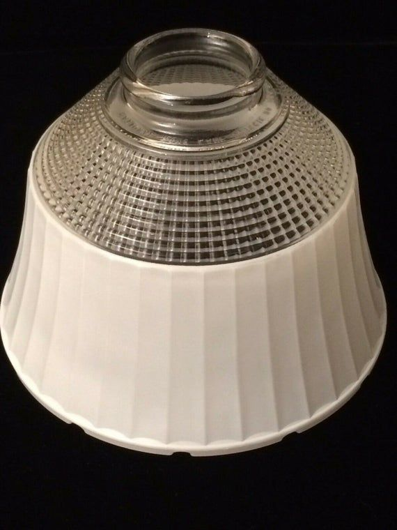 Retro Waffle White Glass Torchiere Lamp Shade Fitting 2 1 2