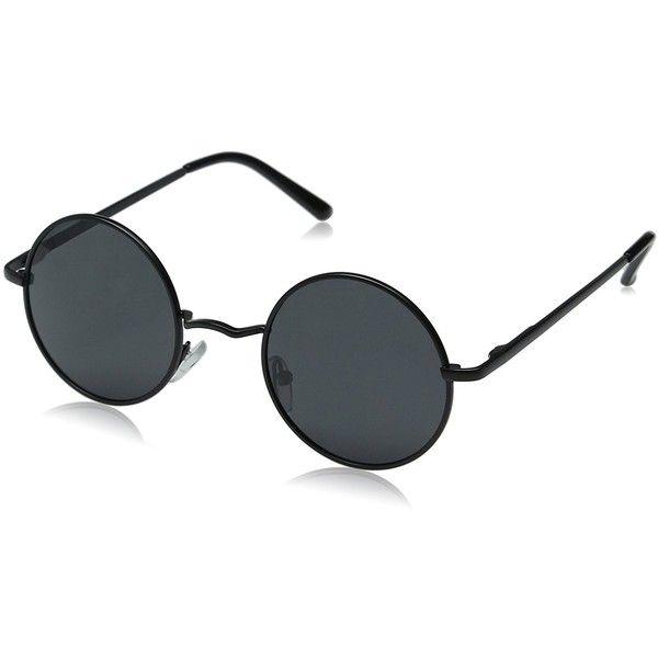 Amazon.com: Aoron Vintage Round Sunglasses with Polarized Lenses for Retro Women and Men (Black Frame): Clothing (80 RON) found on Polyvore featuring men's fashion, men's accessories, men's eyewear, men's sunglasses, mens retro sunglasses, mens round fram