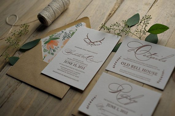 Calligraphy Letterpress Invitation Suite, rustic wedding, vintage wedding, rifle paper co. envelope liner, gold and white twine, laurel wedding invitations, antler wedding invitation, feather, barn wedding