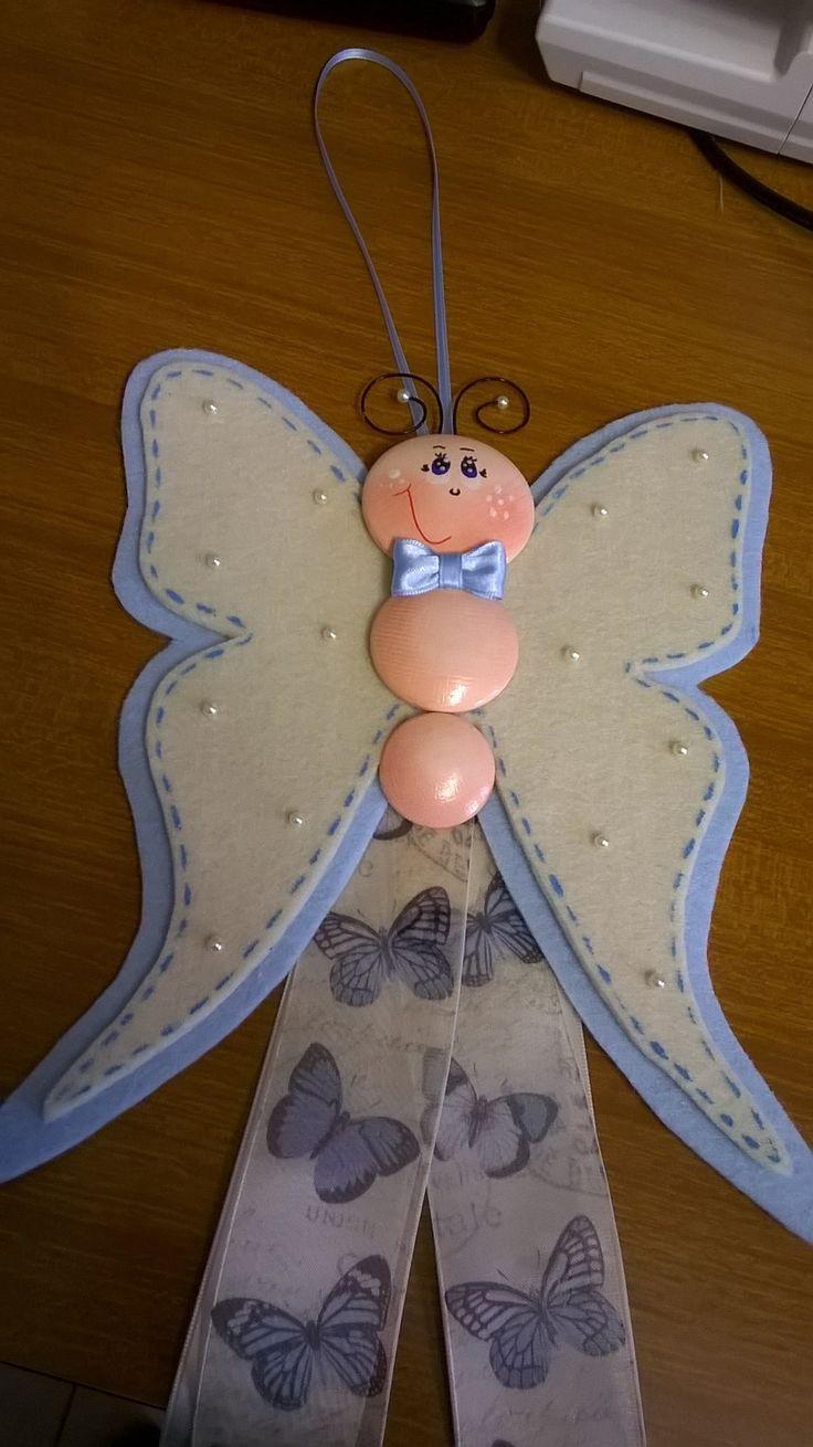 Fiocco nascita farfallina azzurra