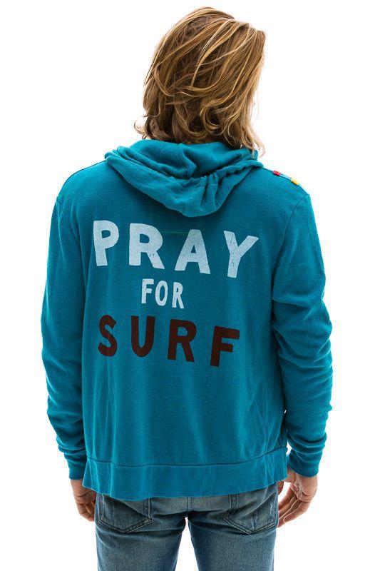 PRAY FOR SURF HOODIE - TEAL