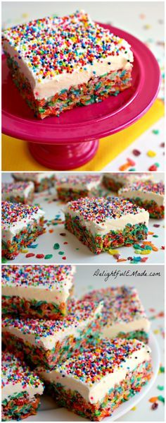 Funfetti Frosted Fruity Pebble Treats by DelightfulEMade.com | These fruity pebble cereal treats are topped with a marshmallow cream cheese frosting, and bejeweled with sprinkles.  Super easy to make, and fun for everyone to eat!  Seriously delicious!!
