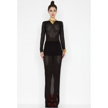 The Chance Mesh Maxi Dress from the Private Benjamin Collection is a long sleeved sheer mesh maxi dress with a deep V back and a double-ended contrast gold zip. http://www.aquabyaqua.com/chance-mesh-maxi-dress-black
