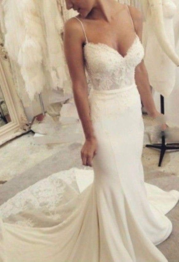 White/ivory Lace Satin Spaghetti Straps Mermaid Wedding Dress