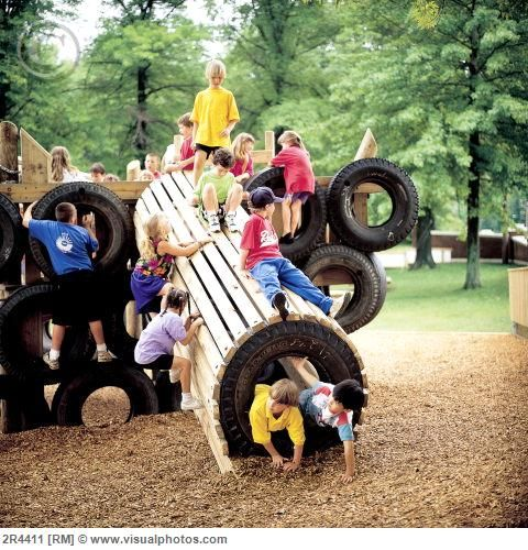 Tire Tunnel? pallets and old tires can also become a play ground! with some good support beams of course