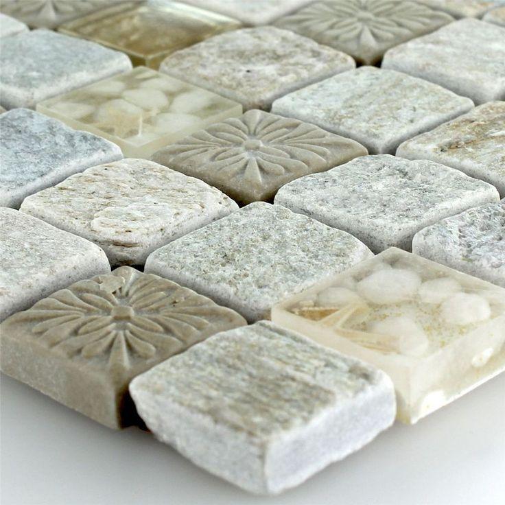 naturstein glasmosaik mosaikfliesen seestern ornament beige1560 eur zzgl 5 eur versand - Schwarzweimosaikfliese Backsplash