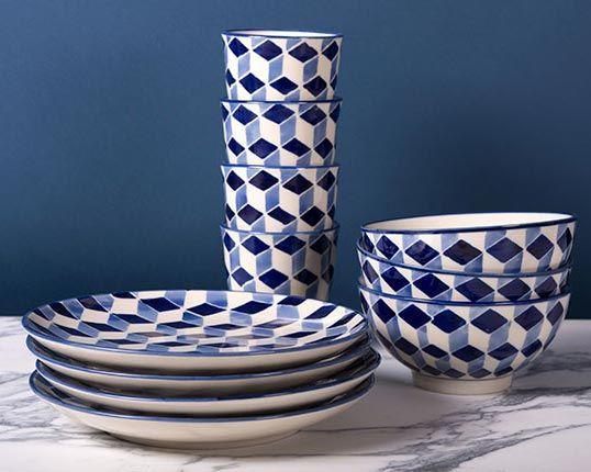 Cube Print Ceramic Dinner Set
