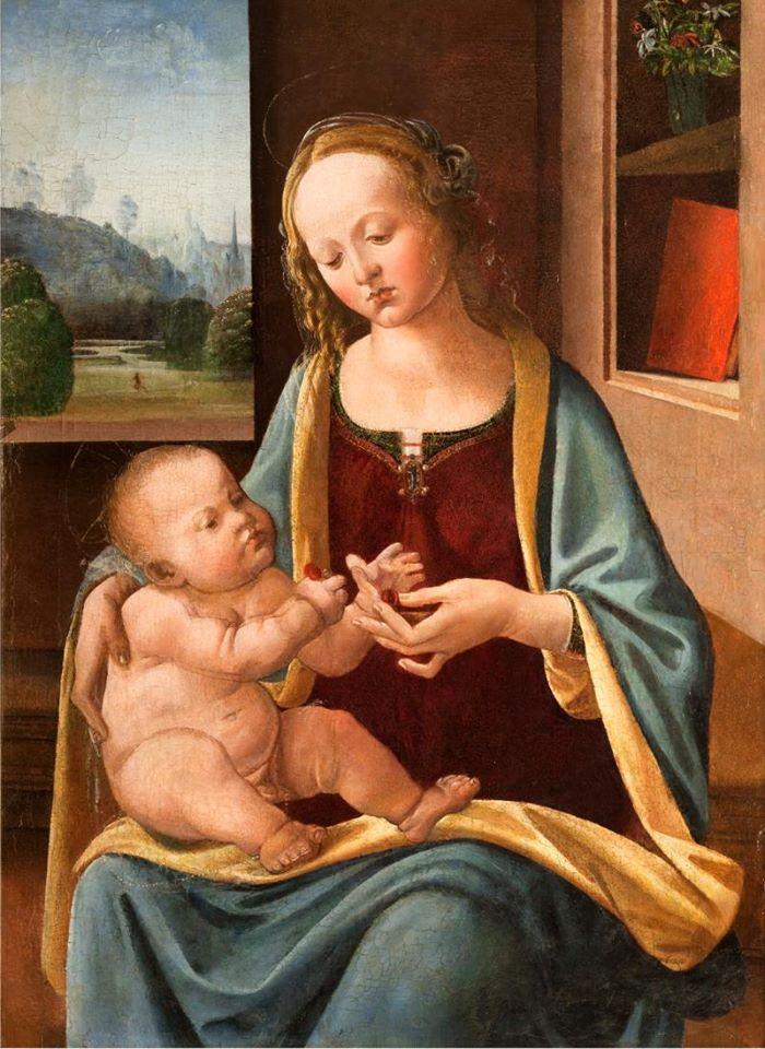 Nella Pinacoteca Rambaldi di Coldirodi possiamo ammirare un'opera di Lorenzo di Credi: Madonna col Bambino