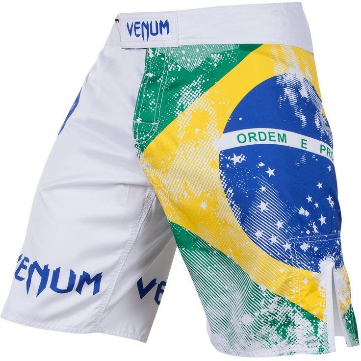 """Venum """"Brazilian Flag"""" Fight Shorts - White"""