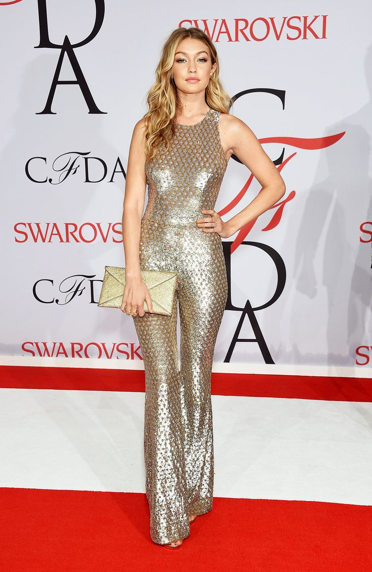 Still not over Gigi Hadid in a metallic gold Michael Kors jumpsuit at the 2015 CFDA Awards