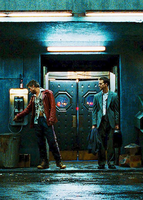 "Fight Club I love how random they dresses Tyler like he found his clothes in a good will bin which is in keeping with his whole ""you are not your f**ing khakis"" mantra"