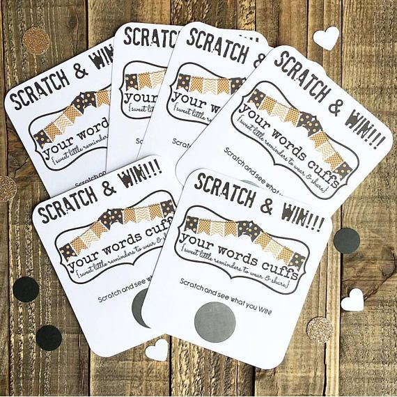 Use these scratch off tickets as fun additions to your orders, giveaways, shows, and more. Included: ~ Options of 75-150 ct scratch off tickets printed on premium white cardstock. ~ Size is 3.5 x 4 inches.  IMPORTANT INFORMATION ~ Choose either single for a single scratch off per card or triple for 3 scratch off tickets per card. ~ Choose either gold or silver for color of scratch off. ~ Please specify shop name in notes to seller & provide the discount & code that you would like unde...