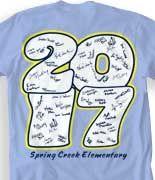 IZA DESIGN senior class of 2017 shirts.  Senior Signature Stack T Shirt - Quad Year desn-23s9.  Have your class of 2017 signatures on the back of their senior tshirts.  Specializing in custom senior class tshirts since 1987!