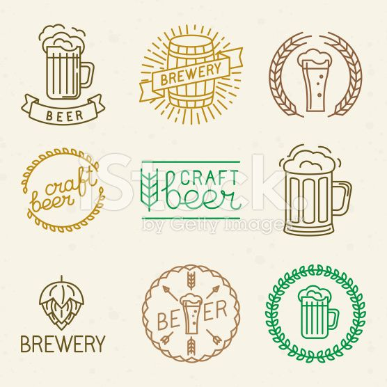 Vector craft beer and brewery logos royalty-free stock vector art