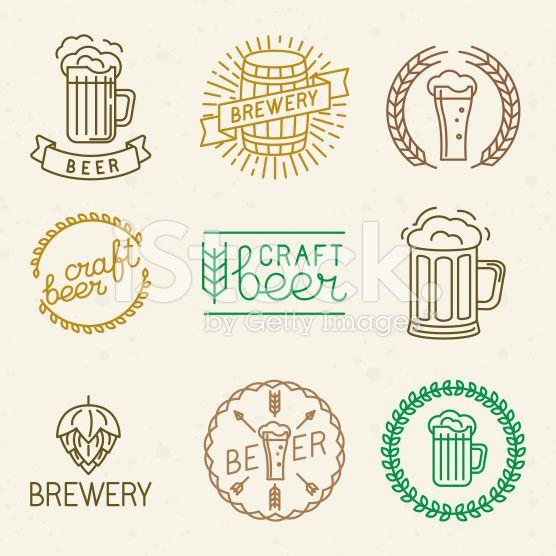 Vector de cervezas artesanales y cervecería logotipos  vector de stock libre de…