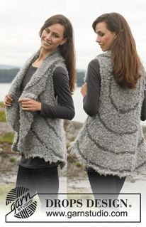 "Knitted DROPS vest in ""Puddel"" and ""Lima"". Size: S - XXXL. ~ DROPS Design"