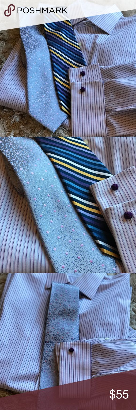 👔 Men's Bundle: BB Non-Iron + Tie 👔 Brooks Brothers Non-Iron button down French cuff shirt. Size 15 1/2 - 34. Purple silk knot cuff links included. White with pale purple and blue stripes. Tommy Hilfiger 100% silk tie with blue, purple, and yellow stripes. Shirt is in very good used condition; only sign of wear is slight discoloration on inside of collar, as shown. Brooks Brothers Shirts Dress Shirts