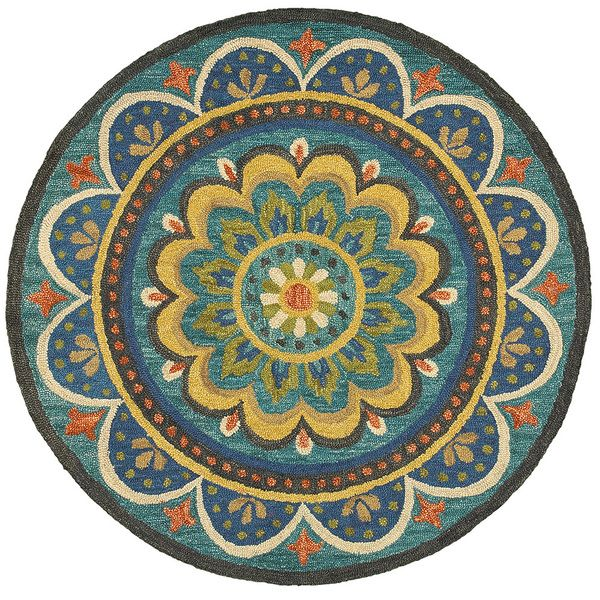 LNR Home Dazzle Blue Geometric Round Area Rug (6' Round) - Overstock Shopping - Great Deals on Round/Oval/Square