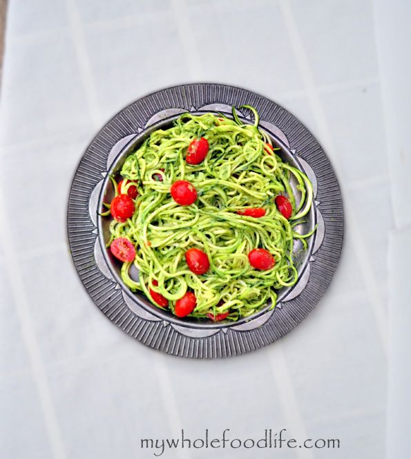 Zucchini Pasta with Avocado Pesto.  An easy, low carb meal that can be made in under 10 minutes!  Vegan, gluen free and paleo.