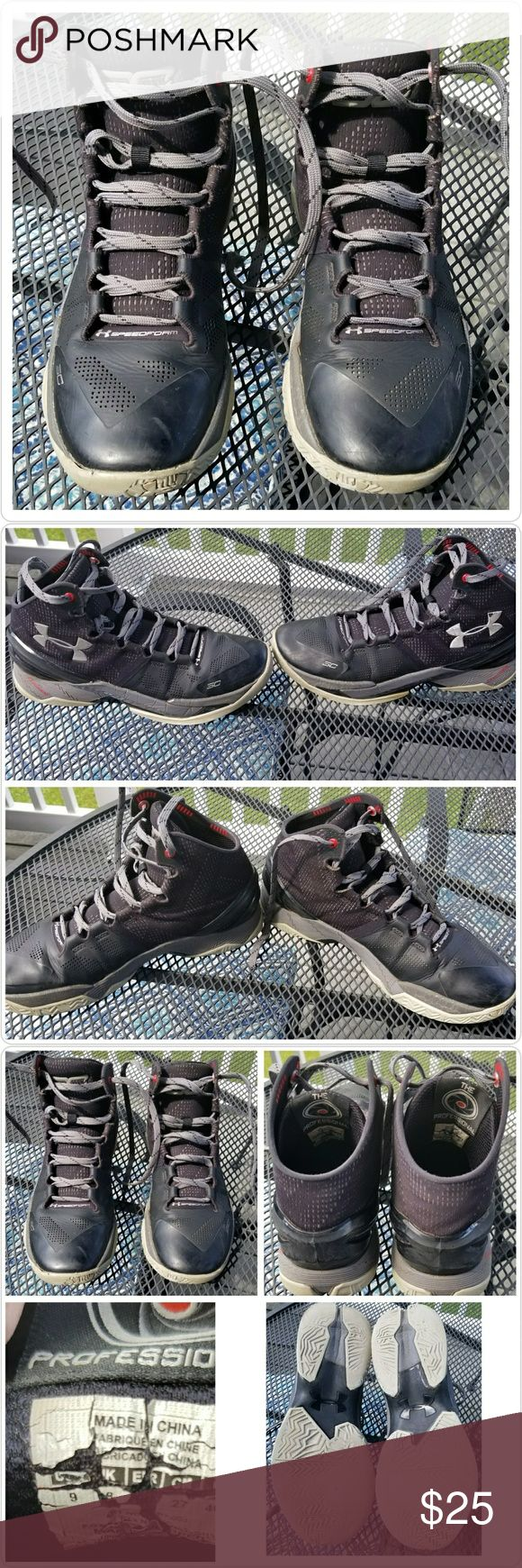 "Men's Under Armour SC Steph Curry 2  Sneakers Pre-owned pair of Curry 2's ""The Professional"" ,Men's Size 9, black/gray/red.  These are in good condition. The soles show wear (see 3rd photo)from normal outdoor court play but they still have some life left!  They would be good for a practice pair or just for hanging around in style.  Smoke-free home. Under Armour Shoes Sneakers"