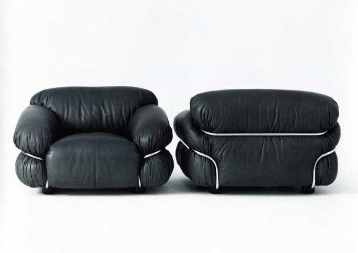"Gianfranco Frattini 70's lounge chairs ""Sesann""."
