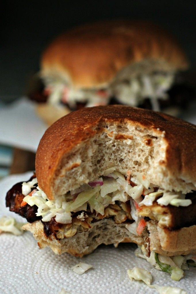 BBQ Tempeh and Coleslaw Sandwiches