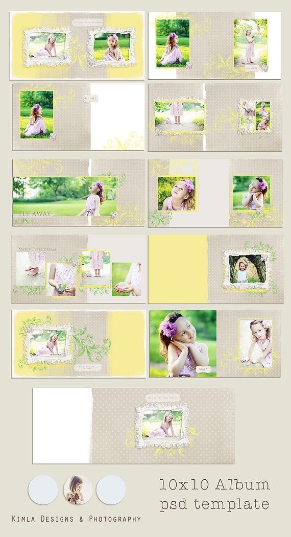 #10x10 Vintage Summer #Album Template psd files by KimlaDesigns, $26.99