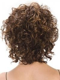 Designed Brown Curly Chin Size Artificial Wigs, Artificial Pink Hair Wig