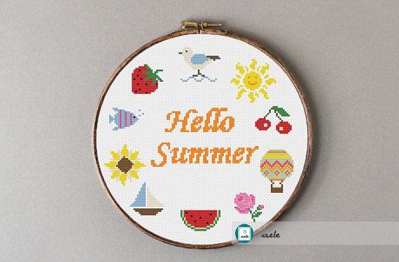 Hello summer wreath cross stitch pattern modern cross stitch