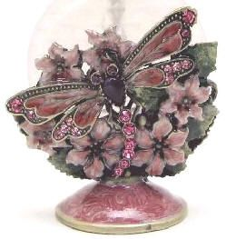 Passiflora Pink Floral Dragonfly Perfume Bottle.