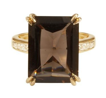 Emerald-Cut Smokey Topaz Ring in 14k Gold with Diamonds only $598.00 - Cocktail Rings