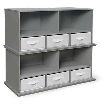 Badger Basket Stackable Shelf Storage Cubby With Three Baskets Gray