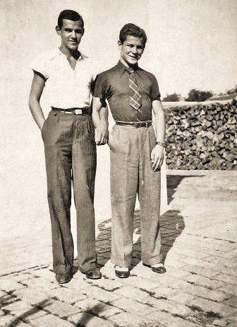 Two Men, probably c. 1930s pants trousers shirt tie belt shoes found photo friends vintage fashion style