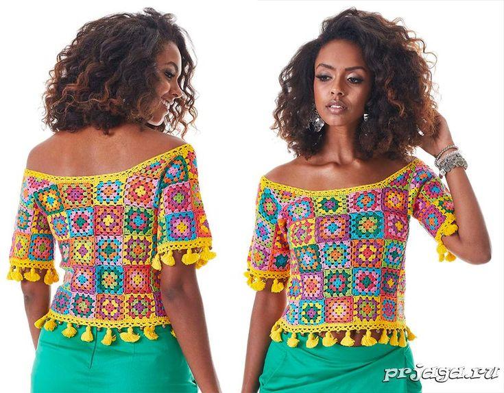 Женская блузка крючком из мотивов