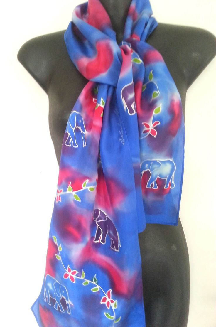 ELEPHANT Jungle walk, Handpainted silk scarf, New Zealand Handmade, Purple and Blue Elephants, on red and blue,  flowers and leaves in lime by KiwiSilks on Etsy