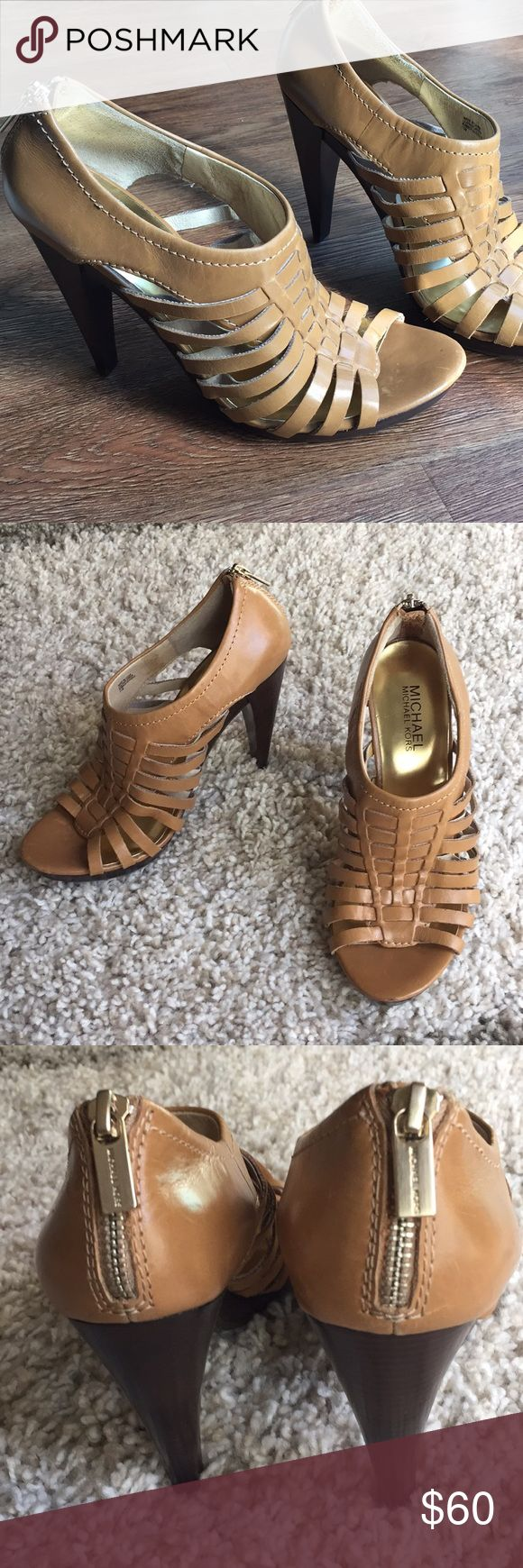 Michael Kors leather high-heeled sandals Is your shoe collection ready for summer? These edgy sandals are in excellent condition. The camel brown color is very versatile. Pair them with soft, earthy colored tops and dresses for outfits that epitomize boho style. MICHAEL Michael Kors Shoes Heels