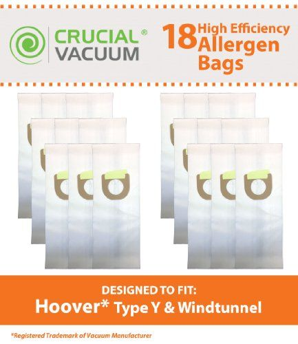 18 pack of Cloth Allergen Filtration Replacement #Vacuum Bags Fits #Hoover Upright Type Y. These Premium synthetic cloth bags to fit Hoover Wind Tunnel upright va...