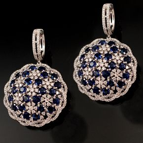 Shop 18KW 10ctw Sapphire Round 3.32ctw Diamond Round Earrings and other jewelry, art, coins, rugs and real estate at www.aantv.com