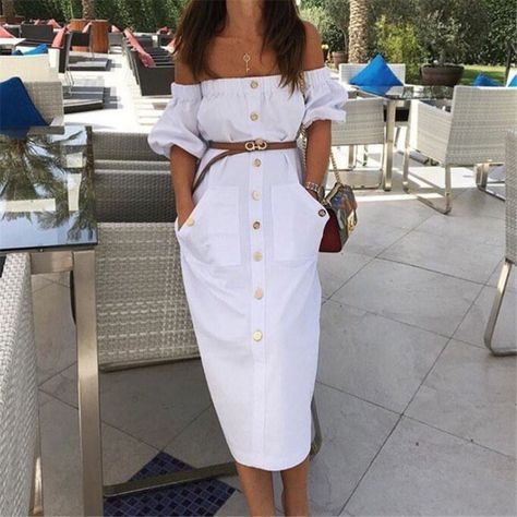 A white lovely off shoulder shirtdress, styled with a elastic collar and a row button, puff sleeves and belt at the waist. Size:S,M,L Color:White Style:Sexy Dress Pattern Type:Pure Color Neckline:Off