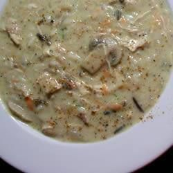 ✻ ✻ Chicken, Thyme and Mushroom Soup ✻ ✻ Recipe: http://allrecipes.co.uk/recipe/4165/chicken--thyme-and-mushroom-soup.aspx?o_is=LV